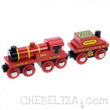 Velika rdeča lokomotiva z vagonom za premog
