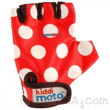 Otroške kolesarske rokavice - rdeče z belimi pikami (M)