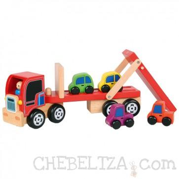 Tovornjak s prikolico in avtomobilčki