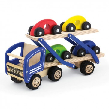 Veliki drveni prijevozni kamion s četiri automobila