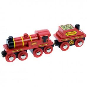 Velika crvena lokomotiva s vagonom za ugljen
