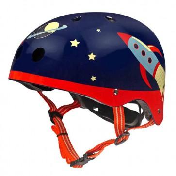 Otroška čelada Micro v temno modri barvi z Raketami