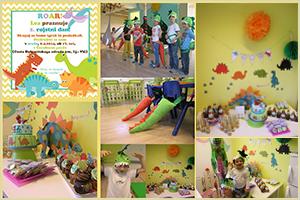 Praznovanje rojstnega dne v Čarobnem gozdu, na temo dinozavrov s čisto pravimi dinozavrovimi repi
