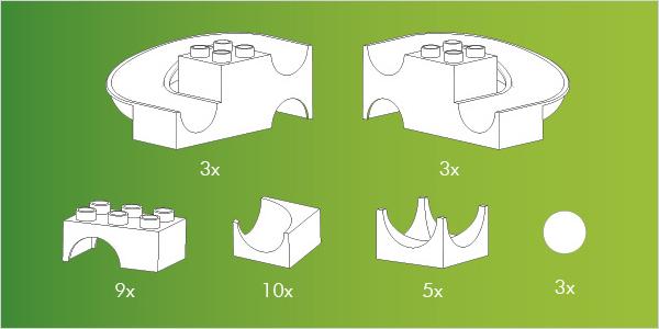 Hubelino kocke, Steza za frnikule, vsebina 33-delnega seta