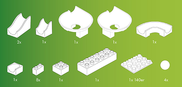 Hubelino kocke, Steza za frnikule, vsebina 22-delnega seta