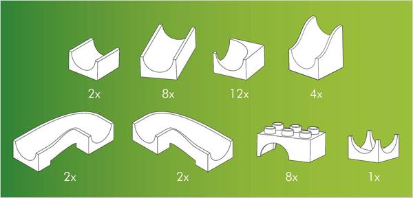 Hubelino kocke, Steza za frnikule, vsebina 39-delnega seta