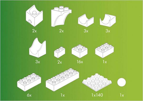 Hubelino kocke, Steza za frnikule, vsebina 41-delnega kompleta s katapultom