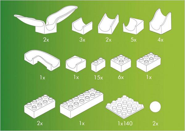 Hubelino kocke, Steza za frnikule, vsebina 46-delnega kompleta z gugalnicama