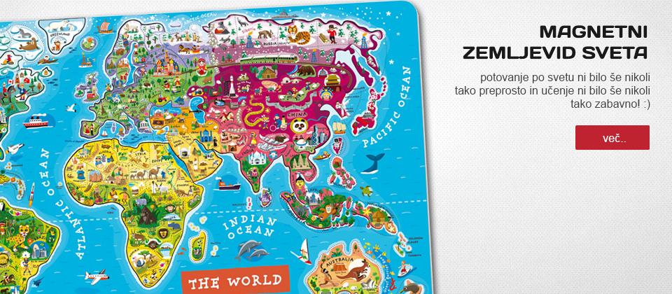 otroška trgovina chebeltza.com - magnetni zemljevid sveta