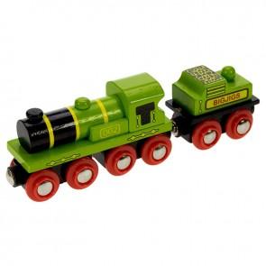 Velika zelena lokomotiva z vagonom za premog