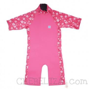 UV Combie neoprenska obleka - roza z rožicami