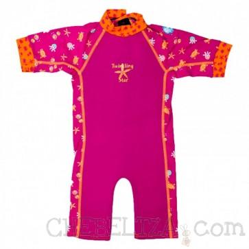 Otroška neoprenska obleka - UV Combie roza