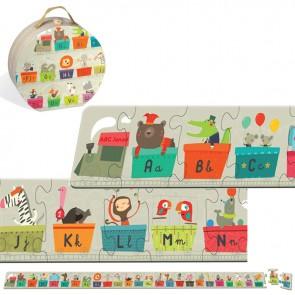 Puzzle v škatli za klobuke - Velikanski abecedni vlak