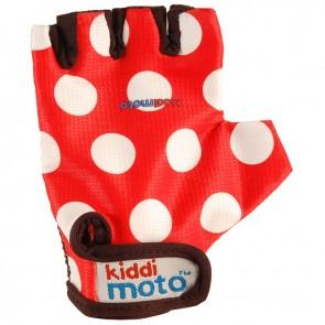 Otroške kolesarske rokavice - rdeče z belimi pikami