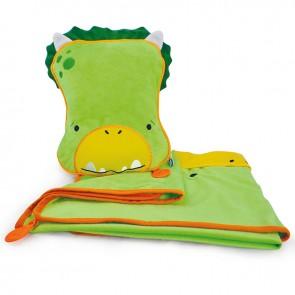 Otroška blazina z odejo SnooziHedz Dudley Dino - zelena
