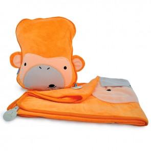 Dječji jastuk sa dekom SnooziHedz Milo Majmun - narančasti