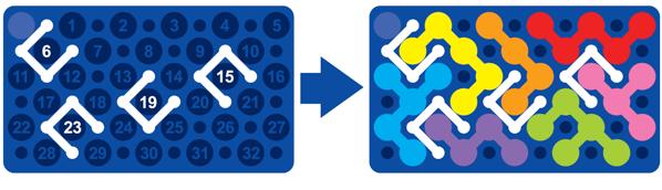 Žepna miselna igra Smart Games - IQ Blox; Primer enostavnega izziva